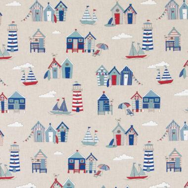 Linen Beach Huts Fabric