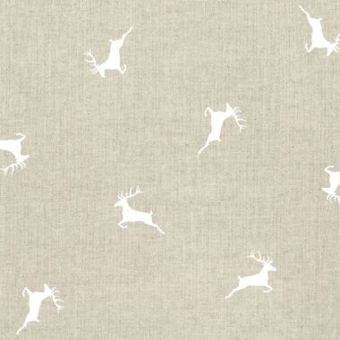 Stags Linen Canvas White Fabric