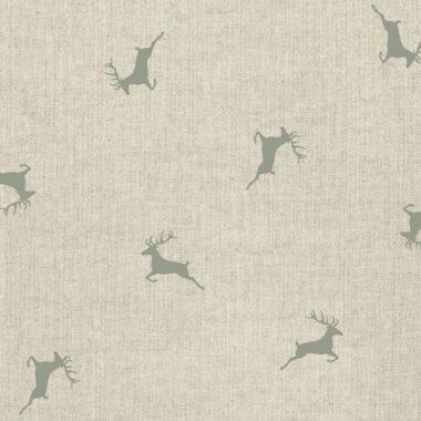 Grey Reindeer Linen Look Canvas Fabric