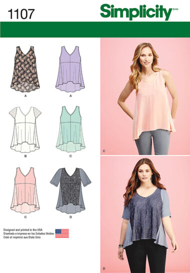 Simplicity 1107 Tops Sewing Pattern