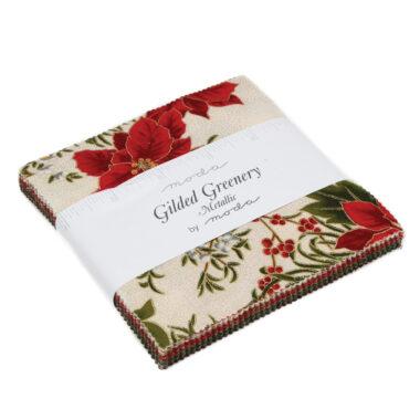 Guilded Greenery Metallic Charm Pack Moda Fabric