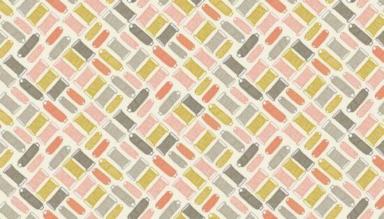Handmade Reels Pink Makower Cotton Fabric
