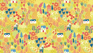 Makower Kitty Garden Fabric