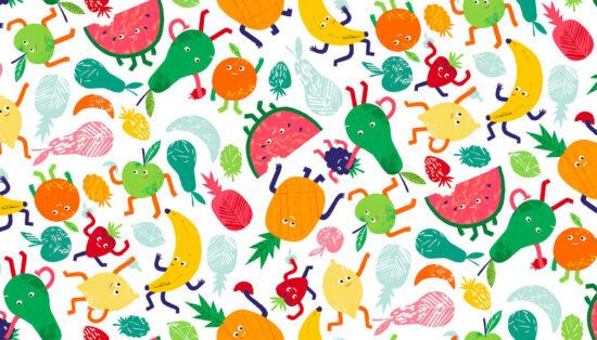 Fruity Friends Scatter Makower Fabric