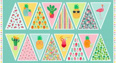 Fruity Friends Bunting Panel Makower Fabric
