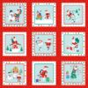 Jolly Santa Labels Makower Christmas Fabric