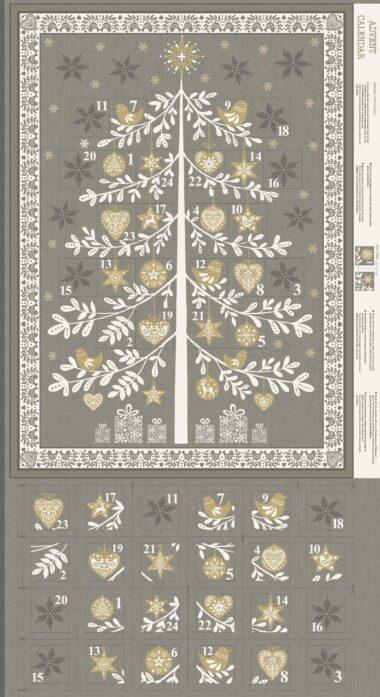 Scandi Advent Calendar Grey Tree Panel Makower Christmas