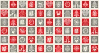 Scandi Squares Makower Christmas Fabric