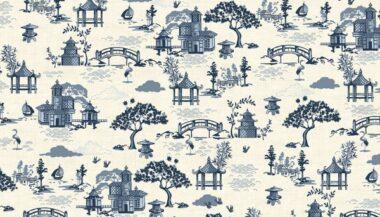 Makower Indigo Scene Cotton Fabric