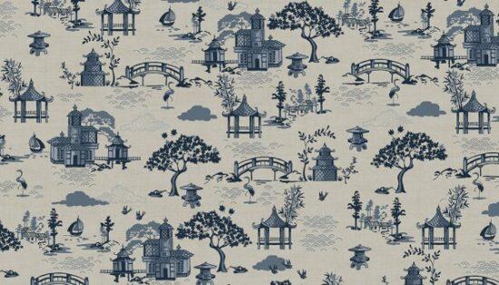 Indigo Makower Linen Blend Canvas Fabric