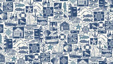 Sail Away Montage Makower Cotton Fabric