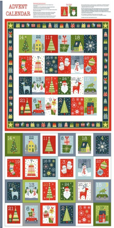 Christmas Joy Advent Panel Makower Cotton Fabric