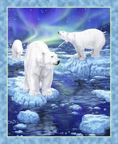 Northern Lights Polar Bear Quilting Panel