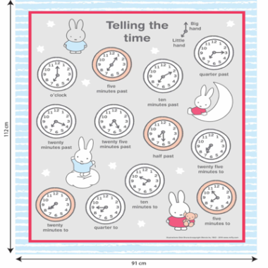 Miffy Telling The Time Fabric Panel