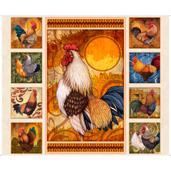 Sunrise Farms Rooster Panel Quilting Treasures