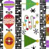 Holiday Tweets Border Makower Christmas Fabric