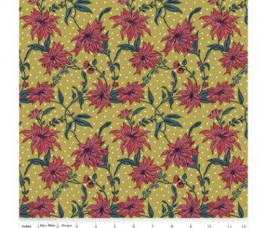 Liberty Fabric Poinsettia Gold Seasons Greetings