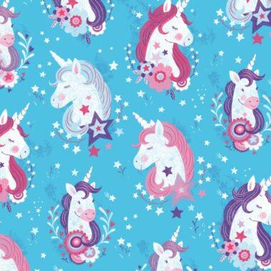 Unicorn Kisses Unicorn Heads Lucie Crovatto Fabric