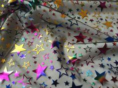 Multi Coloured Stars Net Fabric