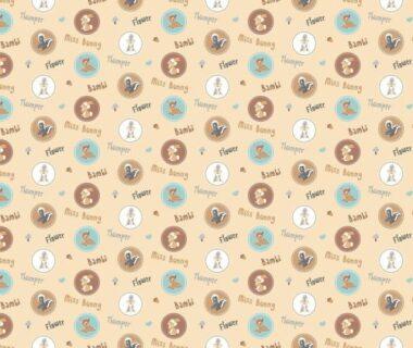 Disney Bambi Character Badges Cotton Fabric