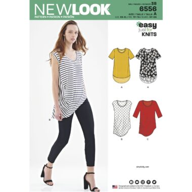 New Look Pattern 6556  Womens Easy Knit Tops
