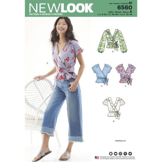 New Look Pattern 6560 Womens Wrap Tops