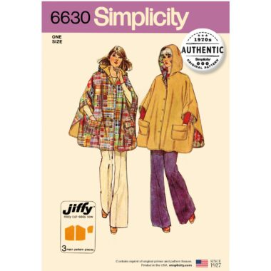 Simplicity 6630 Poncho Sewing Pattern