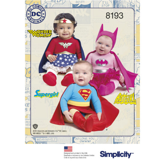 Simplicity 8193 Babies Superhero Sewing Pattern