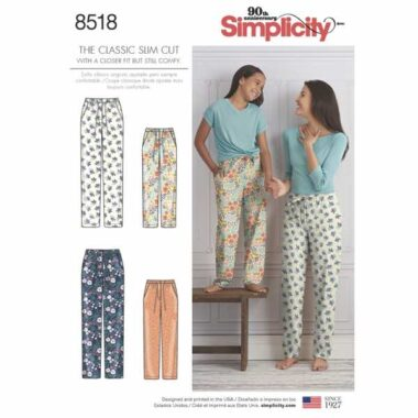 Simplicity 8518 Girls and Womens Lounge Pants Sewing Pattern