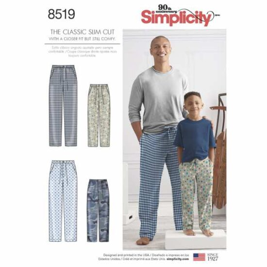 Simplicity 8519 Boys and Men Lounge Pants Sewing Pattern