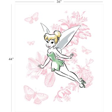 Tinker Bell Floral Fabric Panel Disney