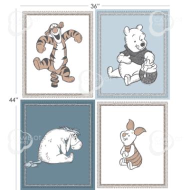 Disney 4 Block Panel Wonder and Whimsy Pooh Bear