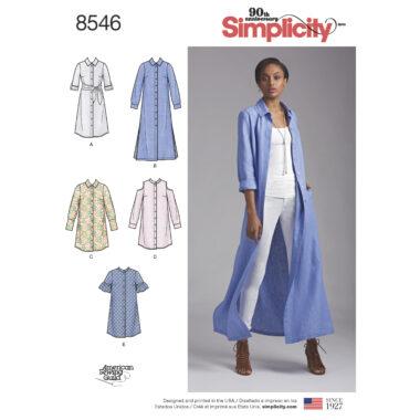 Simplicity Pattern 8546 Women's / Petite Women's Shirt Dresses