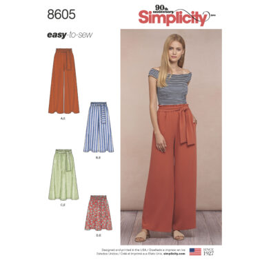 Pattern 8605 Women's Pull on Skirt and Pants