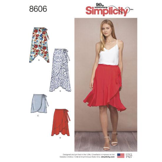 Simplicity Pattern 8606 Women's Wrap Skirt in Four Lengths
