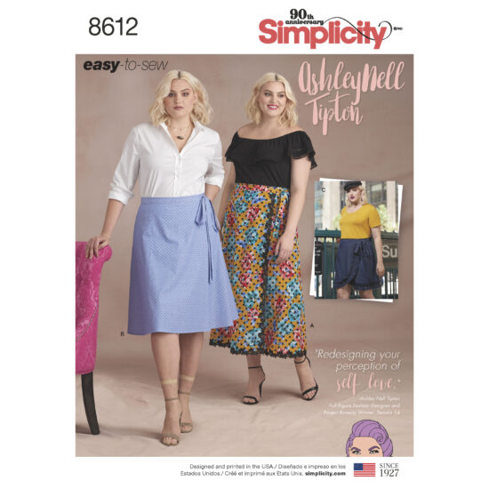 Simplicity Pattern 8612 Women's Easy Wrap Skirts by Ashley Nell Tiption