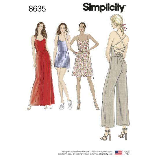 Simplicity Pattern 8635 Women's Dress, Jumpsuit and Romper