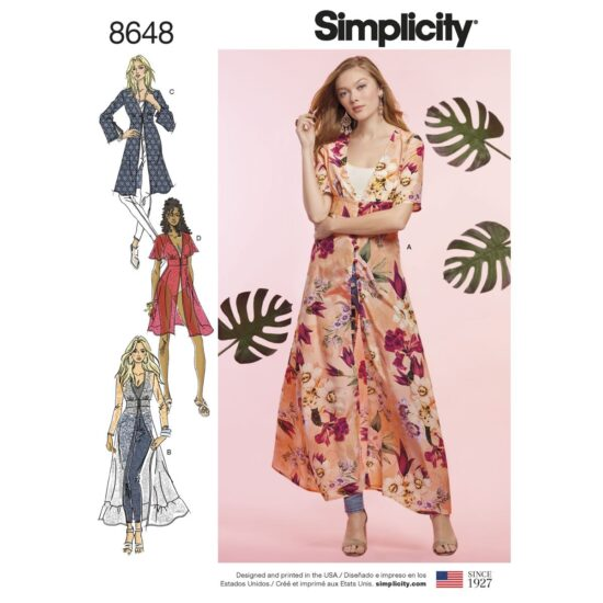 Simplicity Pattern 8648 Womens Duster in Two Lengths