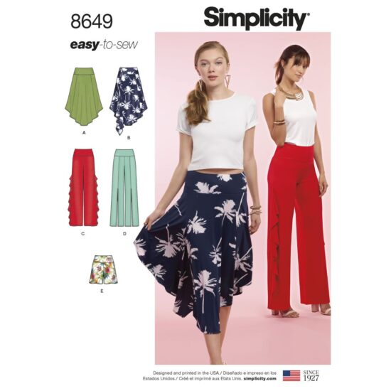 Simplicity Pattern 8649 Womens Easy to Sew Knit Bottoms