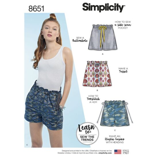 Simplicity Pattern 8651 Learn to Sew Pull on Shorts