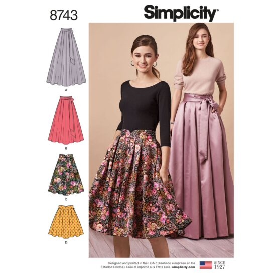 Simplicity 8743 Pleated Skirt Sewing Pattern