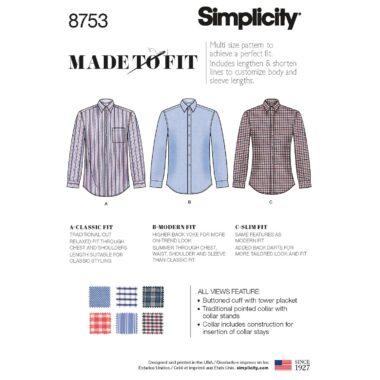 Simplicity 8753 Mens Shirt Sewing Pattern