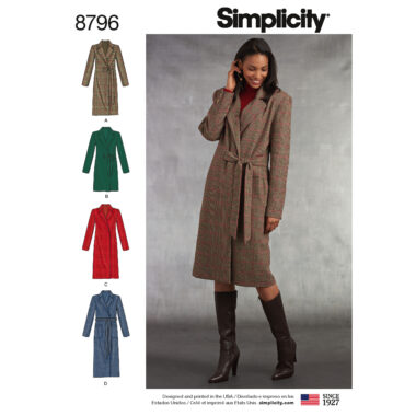 Simplicity 8796 Misses/ Petite Lined Coat Sewing Pattern