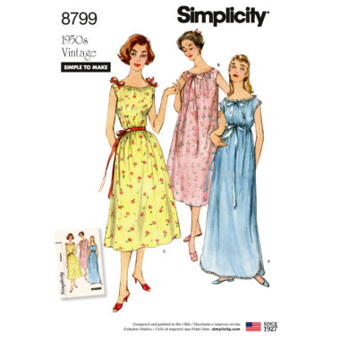 Simplicity 8799 Misses' Vintage Nightgowns Sewing Pattern