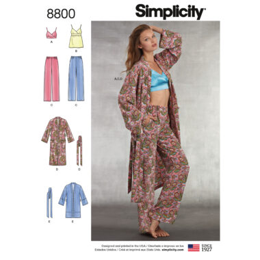 Simplicity 8800 Misses' Robe, Pants, Top and Bralette Sewing Pattern