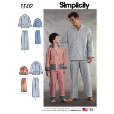 Simplicity 8802 Boys  and Men's Set of Lounge Pants and Shirt Sewing Pattern