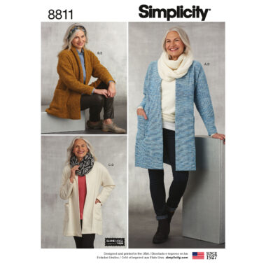 Simplicity 8811 Misses' Knit Sweater, Scarf and Headband Sewing Pattern