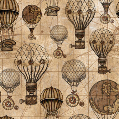 Unknown Voyage Hot Air Balloons Cotton Fabric
