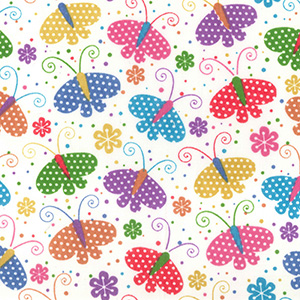 Summer Butterfly Poly Cotton Fabric