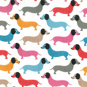 Doggy Dachshunds Poly Cotton Fabric
